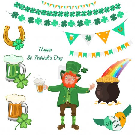 Illustration for Attributes of St. Patrick s Day isolated on a white background. Vector image. - Royalty Free Image