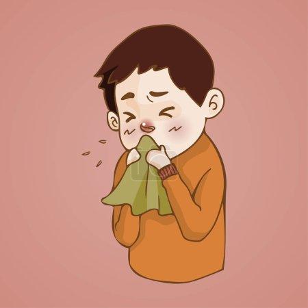 Sick man  has runny nose, caught cold. sneezing into Tissue, flu, Allergy season