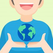 boy holding the Earth in hands Earth day April 22 concept vect