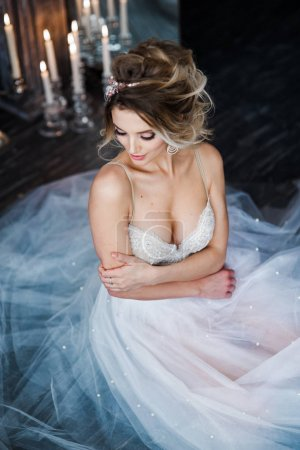 Photo for Gorgeous young woman in white wedding dress - Royalty Free Image