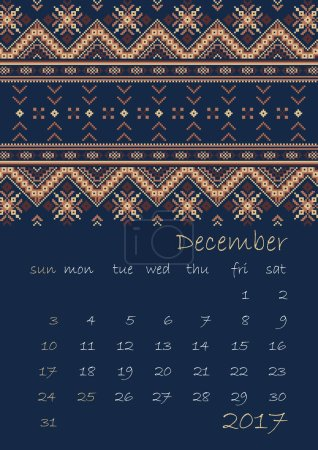2017 Calendar planner with ethnic cross-stitch ornament Week starts on Sunday