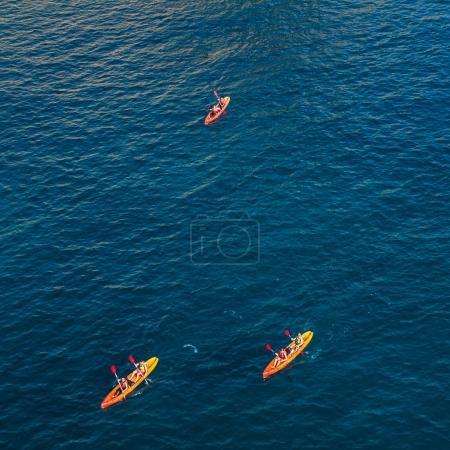 Trio of kayaks