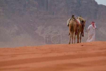 Photo pour Chameaux dromadaires et manutentionnaire dans le magnifique paysage désertique de la vallée de Wadi Rum, Jordanie . - image libre de droit