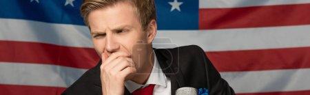 Photo pour Cher homme sur fond drapeau américain - image libre de droit