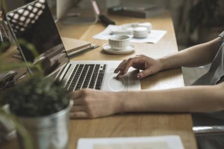 Unrecognizable Businesswoman Typing
