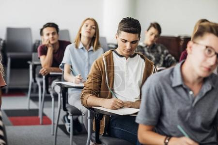 High School Students Sitting at Classroom