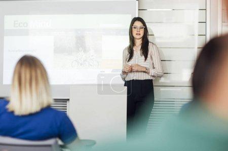 Woman Educator Making Presentation