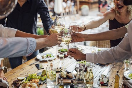 Friends Toasting at Dinner Party