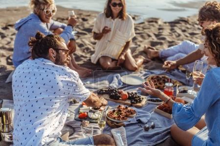 People Having Beach Picnic