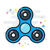 Rotating fidget spinner toy colorful line isolated vector style