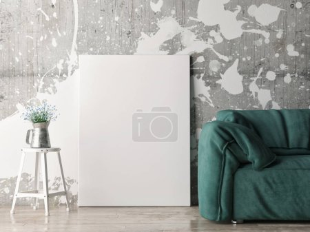 Mock up poster with green sofa, 3d illustration