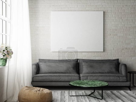 Hipster living room with mock up poser