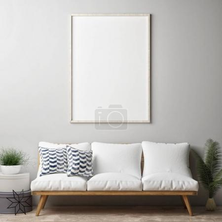 Photo for Mock up poster, hipster living room, 3d render, 3d illustration - Royalty Free Image