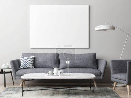 Photo for Mock up poster in hipster living room background, 3d illustration - Royalty Free Image