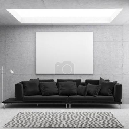 Photo pour Affiche blanche dans le fond du salon scandinave, illustration 3D - image libre de droit