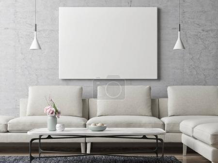 White poster on concrete wall, living room background