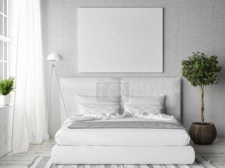 Mock up poster in white bedroom