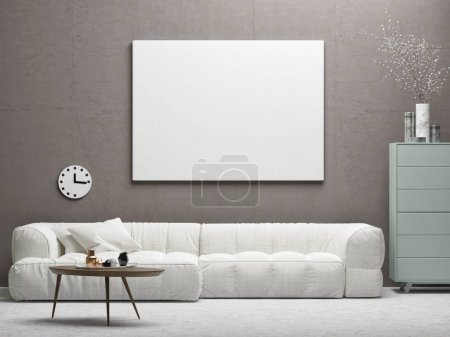 Interior design with mock up poster