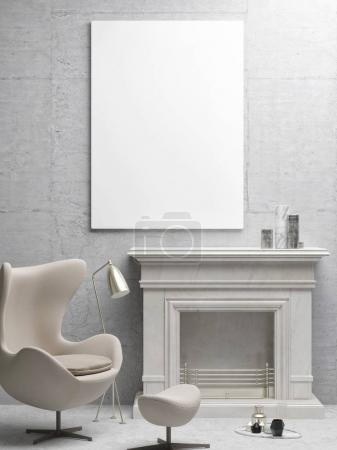 White poster, living room with fireplace