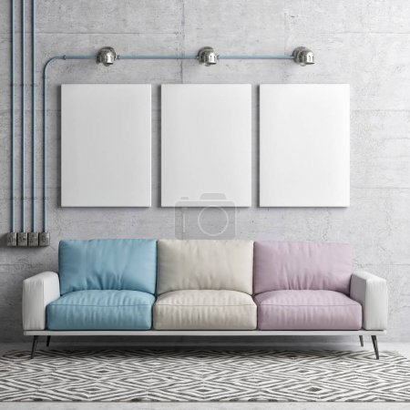 Photo for Hipster interior, posters with colorful sofa, 3d illustration - Royalty Free Image