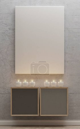 mock up poster with candles,