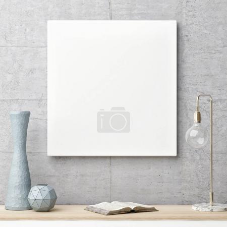 Photo pour Composition en gros plan avec affiche maquette sur mur en béton, illustration 3D - image libre de droit