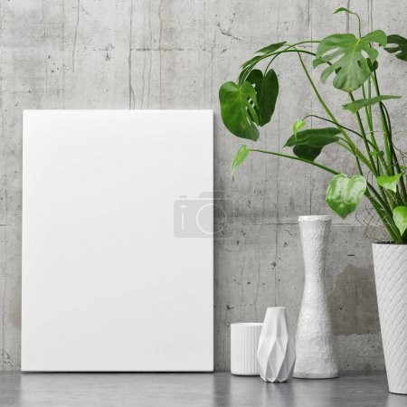 White poster on concrete wall, minimalism decor with plant,
