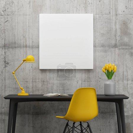 Foto de Cartel en el espacio de trabajo, concepto de minimalismo con tulipanes amarillos, ilustración 3d - Imagen libre de derechos