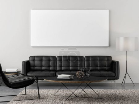 Photo for Retro living room with mock up poster, 3d illustration - Royalty Free Image