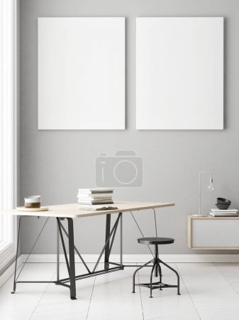 Office with two posters on gray wall