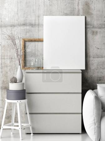 Mock up poster on Chest of drawers with decoration