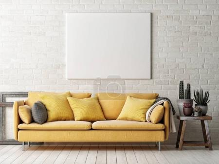 Photo for Mock up poster with yellow sofa, cactus and wooden frame, 3d illustration - Royalty Free Image