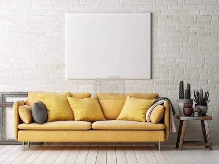 Foto de Simulacros de cartel con cactus, sofá amarillo, Ilustración 3d y marco de madera - Imagen libre de derechos