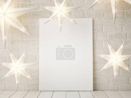 Mock up poster with stars Christmas decoration