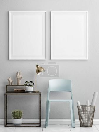 Photo pour Deux maquettes d'affiches avec des meubles rétro, design d'intérieur nordique, illustration 3D - image libre de droit