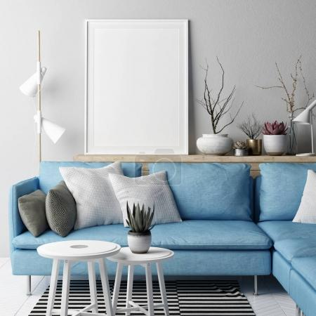 Photo for Mock up poster, Living room Nordic concept design, blue sofa on gray background, 3d illustration, 3d render - Royalty Free Image
