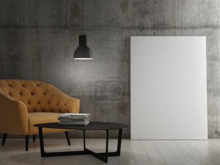Dark room with mock up poster, 3d render, 3d illustration