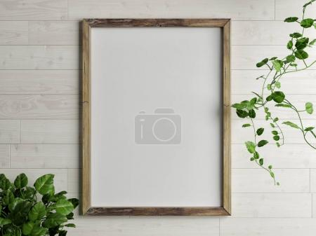 Mock up wooden frame with golden lamp composition in font of gray wall, 3d redner, 3d illustration