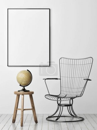 Poster on the wall, metal armchair and old globe, 3d render, 3d illustration