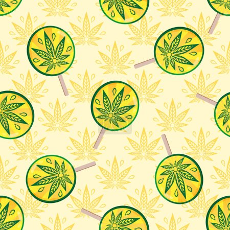 Illustration pour Modèle sans couture avec du cannabis et des bonbons. Sucettes et cannabis de pluie. Modèle rétro pour surfaces de conception pour produits pour adultes . - image libre de droit