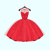 Red long dress Dress with rhinestones Fashion vector illustration