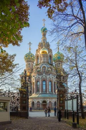 Observing view of Church of the Savior on Blood in Saint-Petersburg, Russia