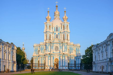 View of Smolny Convent of the Resurrection in daytime, Saint-Petersburg, Russia.