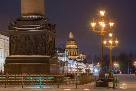 Detail view of buildings, monuments and lanterns in evening, Saint-Petersburg, Russia.