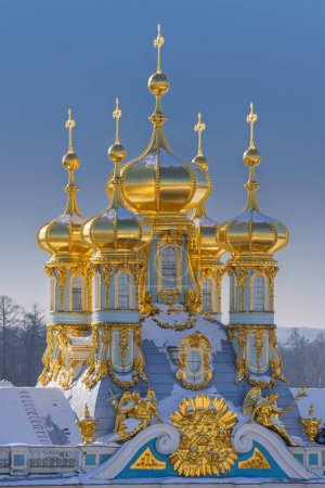 Golden domes in The Catherine Palace, Tsarskoye Selo, Saint-Petersburg, Russia
