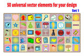 Set cartoon patches stickers and badges Objects in flat style Collection universal elements for design and decoration
