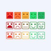 """Постер, картина, фотообои """"Цвет установить квадратный значок смайликов. Ранг, уровень удовлетворенности в виде эмоций, смайлики, emoji. Отлично, хорошо, нормально, плохо, ужасно. Обратная связь, взаимодействие с пользователем в плоский значок. Вектор"""""""