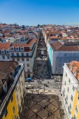 Lisbon, Portugal - May 19, 2017: Aerial view of commercial stree