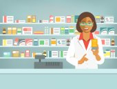 Pharmacist at counter in pharmacy Black woman druggist stands opposite shelves with medicines and points to drug Flat vector illustration Health care medical background Drugstore cartoon banner