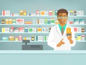 Pharmacist at counter in pharmacy Black man druggist stands opposite shelves with medicines and points to drug Flat vector illustration Health care medical background Drugstore cartoon banner